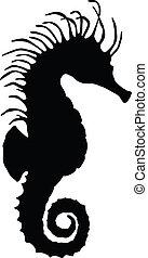 Vector sea horse   - Sea horse silhouette. Vector eps8