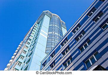 Modern skyscraper on blue sky background in Samara, Russia