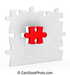 puzzle wall - puzzle jisaw wall with one red out