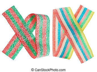 Multicolor gummy candy (licorice) band, isolated on white closeup view