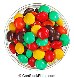 Multicolor bonbon sweets (ball candies) in glass bowl,...