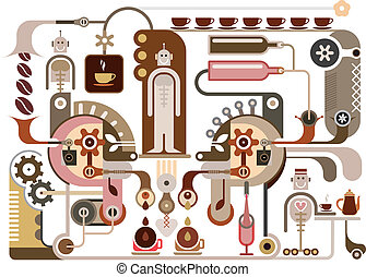 Coffee Factory - Coffee and Factory - vector illustration...