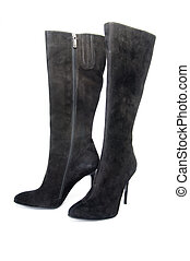 Black suede female boots - Black suede female boots,...