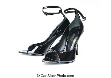 Pair of black female glossy shoes