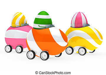 easter eggs figure - colorful easter eggs figure sit in car