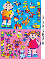 Children with toys. - Nice boy and girl with toys. Happy...