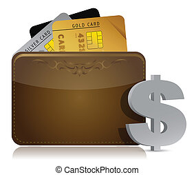 brown leather wallet with credit cards inside illustration
