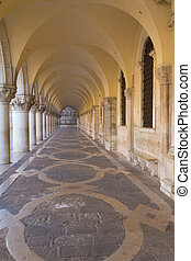 Arcade of Ducal Palace Venice - Arcade and vaults of Ducal...
