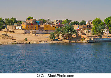 Arab village on the banks of the Nile Nile near Luxor, Egypt...