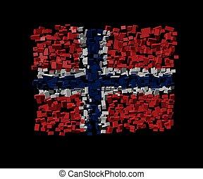 Norwegian flag on blocks illustration