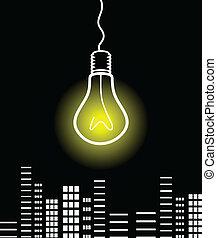 Bulb over a city