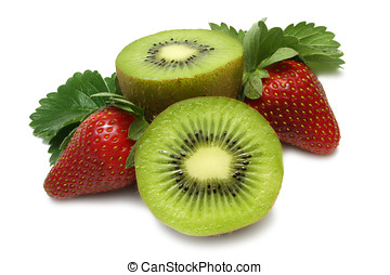 Strawberries and Kiwi Fruit - Kiwi fruit and strawberry on...
