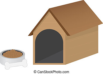 Doghouse - Isolated doghouse and dog bowl with bone