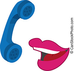 Lips talking on the phone - Isolated lips talking on a blue...