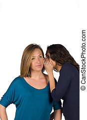 Confidential info being whispered into her ear