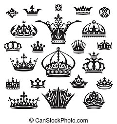 set of different crowns - set of black different crowns...