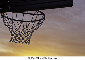 basketball hoop silhouette sunset - basketball hoop and net...