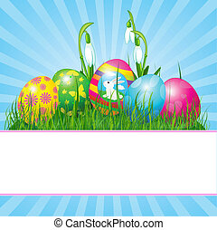 Easter eggs background - Easter place card with eggs in...