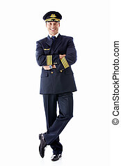 Pilot - A man dressed as a pilot on a white background