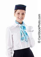 Stewardess with a cup on a white background