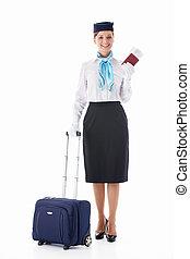 Stewardess with a passport
