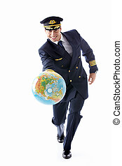 Mature pilot - A man dressed as a pilot with a globe on a...