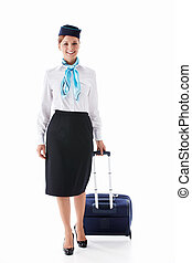 Stewardess with a suitcase on a white background