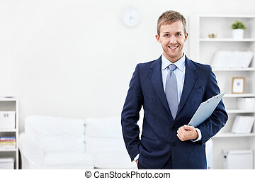 Consultant - Business man with a clipboard at home