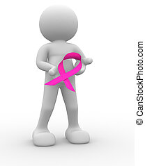 Pink ribbon - 3d people - human character , person with of a...