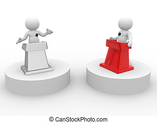 Discussion - 3d people - human character , person speaking...