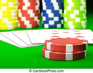 Gambling chips and poker cards on green carpet - 3D render