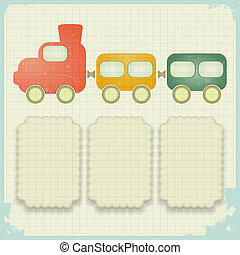 retro background with a toy train and place for text