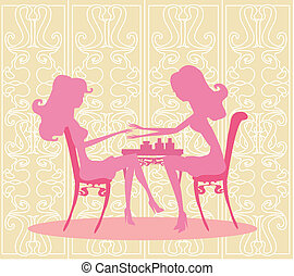 Young lady doing manicure in beauty salon