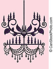 Chandelier - Stock Vector Illustration: Sketch Chandelier