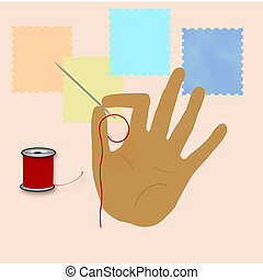 tailor made - hand holding needle with red thread...