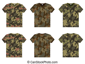 Mens Military T-Shirts v-neck front and back view Vector...
