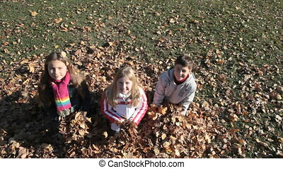 Throwing maple leaves - Overview of three playful children...