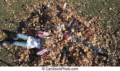 Autumn leaves - Overview of children playing with autumn...