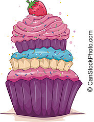 Cupcake - Illustration of a Multi-Layered Cupcake with a...