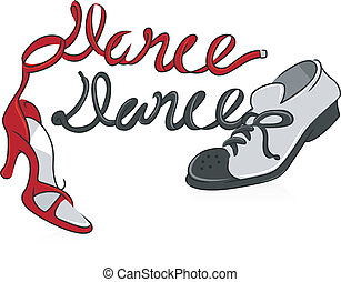 Dancing Shoes - Illustration Featuring a Pair of Dancing...
