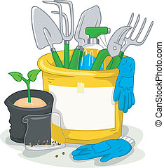 Gardening - Illustration Featuring Gardening-Related Items