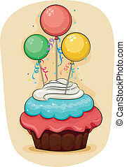 Cupcake - Illustration of a Cupcake with Miniature Balloons...