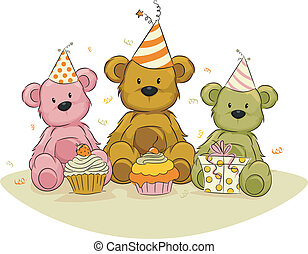 Bear Birthday, - Illustration of Toy Bears Celebrating Their...