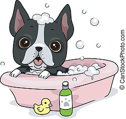 Dog Bath - Illustration of a Dog Taking a Bath