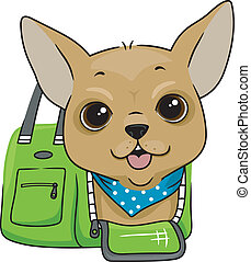 Dog in a Carrier Bag - Illustration of a Dog