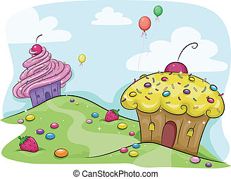 Cupcake Land - Illustration Featuring a Land Full of...