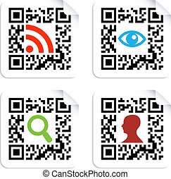 Social icons set with QR code sign label