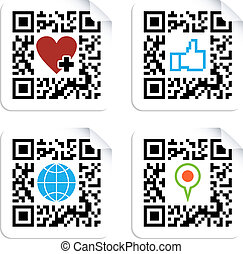 Set of QR codes with social media icons - QR code technology...