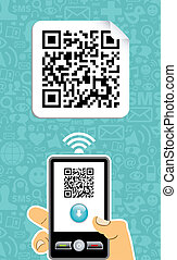 Mobile phone decoder qr code - Hand with mobile phone scans...