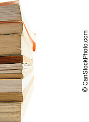 stack books on white background